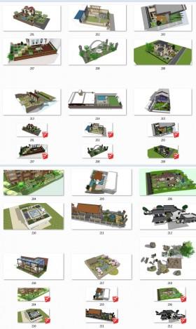 Tổng hợp 18 File Sketchup 3D Model Thiết kế cảnh quan sân vườn nhà phố, biệt thự Mẫu P5