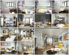 Phối cảnh nội thất 3D Max Nội thất chung cư gồm Phòng khách, Bếp ăn, Ngủ hiện đại đẹp 00086