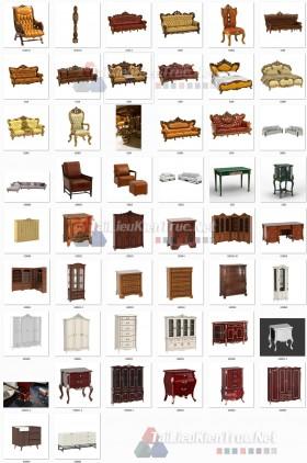 Thư viện 3D tân cổ điển tổng hợp 49 Model 3dsmax về Giường, sofa, bàn ghế, tủ, kệ chất lượng cao