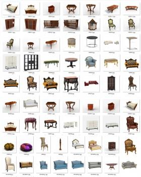 Thư viện 3D tân cổ điển tổng hợp 57 Model 3dsmax về Giường, sofa, bàn ghế, tủ, kệ chất lượng cao