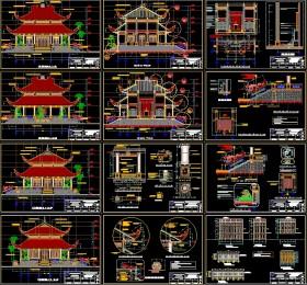 Hồ sơ thiết kế Đền thờ liệt sỹ kích thước 14,7x15,3m 2 mái
