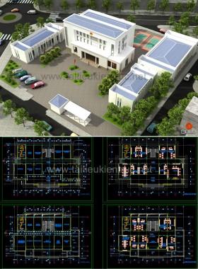 Hồ sơ thiết kế thi công UBND Xã Di Trạch mẫu 02 full kiến trúc, kết cấu và điện nước