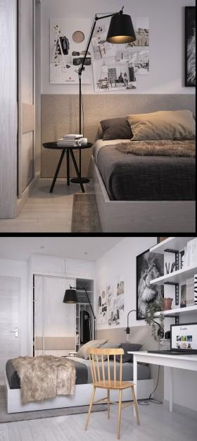 Phối cảnh phòng ngủ phong cách Hiện đại đẹp full file Max 00081