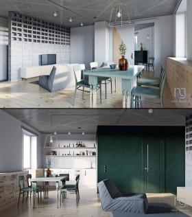 Phối cảnh nội thất 3D Max Nội thất chung cư gồm Phòng khách, Bếp ăn 00091
