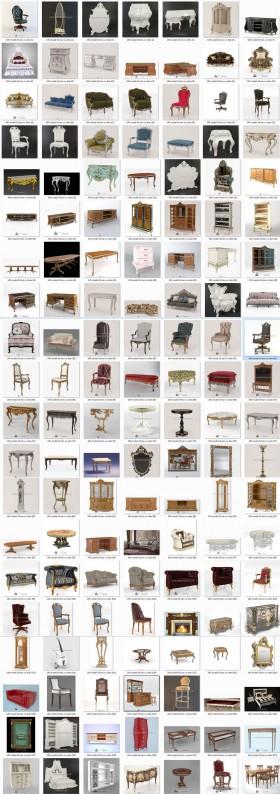 Thư viện 3D tân cổ điển tổng hợp 140 Model 3dsmax về Ghế, tủ, kệ, đồng hồ, gương và Sofa cực đẹp chất lượng