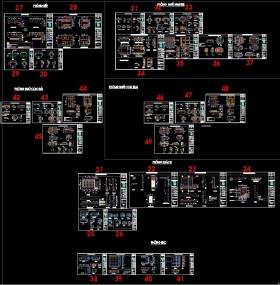 Hồ sơ thiết kế thi công nội thất nhà phố 3 tầng mẫu 009 Full bản vẽ