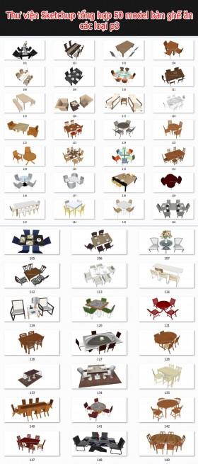 Thư viện 3d sketchup Tổng hợp 50 Model bàn ghế phòng ăn full P3