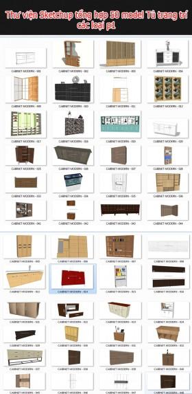 Thư viện 3d sketchup Tổng hợp 50 Model về tủ trang trí các loại P1