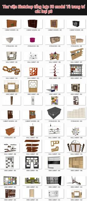 Thư viện 3d sketchup Tổng hợp 50 Model về tủ trang trí các loại P3