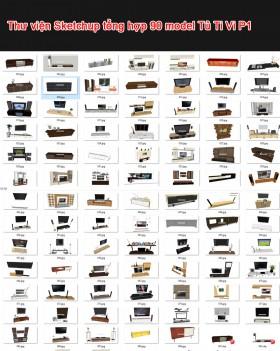 Thư viện 3d sketchup Tổng hợp 90 Model TV Cabinet P1