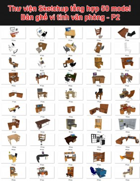 Thư viện 3d sketchup Tổng hợp 50 Model Bàn ghế văn phòng P2
