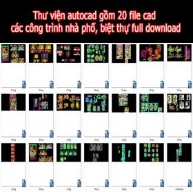 Thư viện autocad gồm 20 file cad  các công trình nhà phố, biệt thự full download