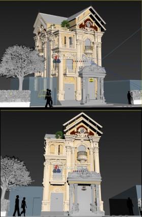 Phối cảnh 3d file 3dsmax Biệt thự 3 tầng Tân cổ điển 00044
