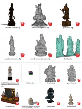 Thư viện sketchup về các loại tượng trang trí như: tượng phật, tượng phúc lộc thọ, quan công