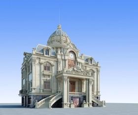 Phối cảnh 3d file Sketchup Biệt thự lâu đài 3 tầng Tân cổ điển 00045