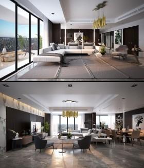 Phối cảnh nội thất 3D Max Nội thất chung cư gồm Phòng khách, Bếp ăn 00097