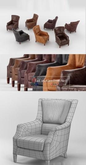 Thư viện 3dsmax tổng hợp Model Ghế armchair gồm các màu da, nỉ để lựa chọn 00034