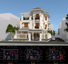 Hồ sơ thiết kế phương án Biệt thự 4 Tầng Tân cổ điển diện tích 13,3x18,8m - 0115 Full cad và 3d sketchup