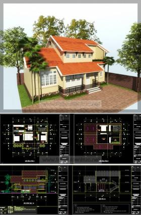 Hồ sơ thiết kế nhà 1 tầng đẹp với diện tích 6,8x12,5m full kiến trúc 025