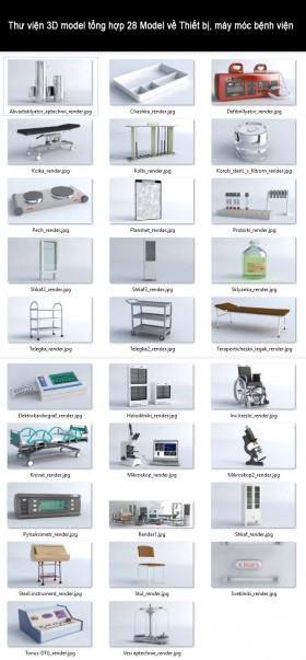 Thư viện 3D model tổng hợp 28 Model về Thiết bị, máy móc bệnh viện