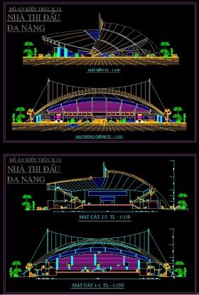 Đồ án tốt nghiệp kiến trúc sư - Bản vẽ autocad Thiết kế nhà thi đấu Đa năng