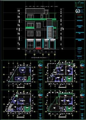 Hồ sơ thiết thiết kế nhà phố 4 tầng trên diện tích đất hình thang 70m2 full kết cấu 128