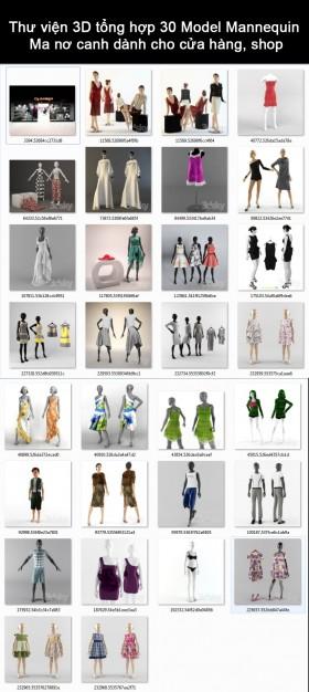Thư viện 3D tổng hợp 30 Model Mannequin - Ma nơ canh dành cho cửa hàng, shop