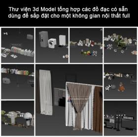 Thư viện 3d Model tổng hợp các đồ đạc có sẵn dùng để sắp đặt cho một không gian nội thất full