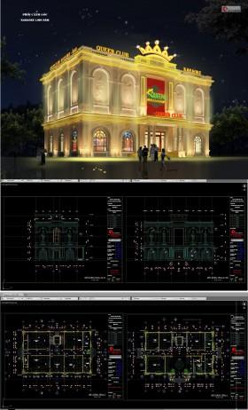 Hồ sơ thiết kế nhà hàng tiệc cưới, dịch vụ giải trí với diện tích 16x23m 3 tầng tân cổ điển