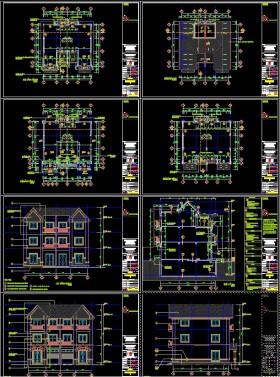 Hồ sơ thiết kế thi công biệt thự 3 tầng với diện tích 12,5x14,2m - 0118 full kiến trúc và kết cấu
