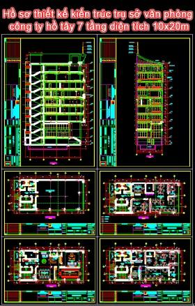 Hồ sơ thiết kế kiến trúc trụ sở văn phòng công ty hồ tây 7 tầng diện tích 10x20m