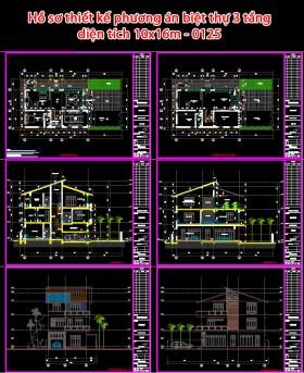 Hồ sơ thiết kế phương án biệt thự 3 tầng hiện đại 10x16m - 0125