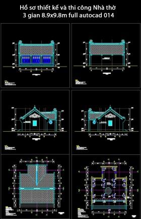 Hồ sơ thiết kế và thi công Nhà thờ 3 gian 8.9x9.8m full autocad 014