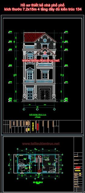 Hồ sơ thiết kế nhà phố kích thước 7.2x15m 4 tầng đầy đủ kiến trúc 134