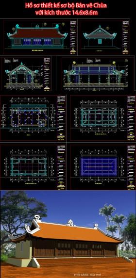 Hồ sơ thiết kế sơ bộ Bản vẽ Chùa với kích thước 14.6x8.6m