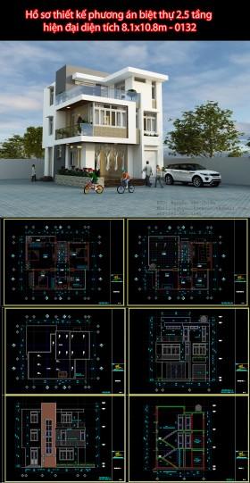 Hồ sơ thiết kế phương án biệt thự 2.5 tầng hiện đại diện tích 8.1x10.8m - 0132
