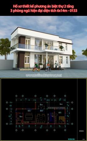 Hồ sơ thiết kế phương án biệt thự 2 tầng  3 phòng ngủ hiện đại diện tích 6x14m - 0133