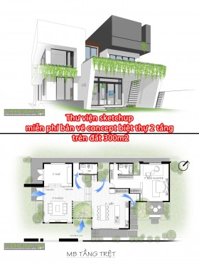 Thư viện sketchup miễn phí bản vẽ concept biệt thự 2 tầng trên đất 300m2