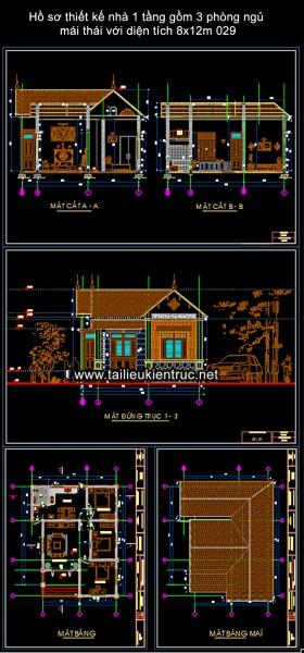 Hồ sơ thiết kế nhà 1 tầng gồm 3 phòng ngủ mái thái với diện tích 8x12m 029