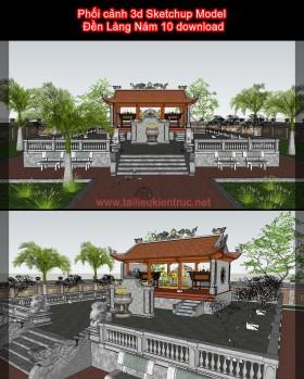 Phối cảnh 3d Sketchup Model Đền Làng Nám 10 download