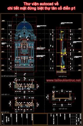 Thư viện autocad về chi tiết mặt đứng biệt thự tân cổ điển p1
