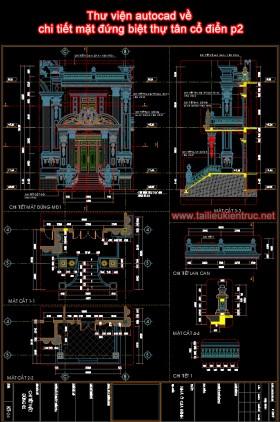 Thư viện autocad về chi tiết mặt đứng biệt thự tân cổ điển p2