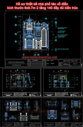Hồ sơ thiết kế nhà phố tân cổ điển  kích thước 8x9.7m 2 tầng 140 đầy đủ kiến trúc
