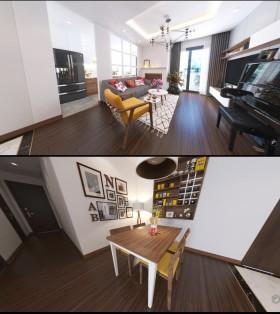 Phối cảnh nội thất 3D Phòng khách và Bếp ăn chung cư hiện đại đẹp MS 00101