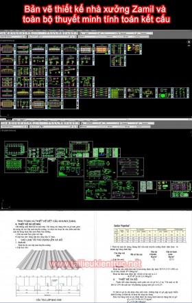 Bản vẽ thiết kế nhà xưởng Zamil và toàn bộ thuyết minh tính toán kết cấu