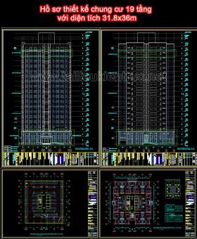 Hồ sơ thiết kế chung cư 19 tầng với diện tích 31.8x36m