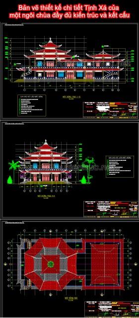 Bản vẽ thiết kế chi tiết Tịnh Xá của một ngôi chùa đầy đủ kiến trúc và kết cấu