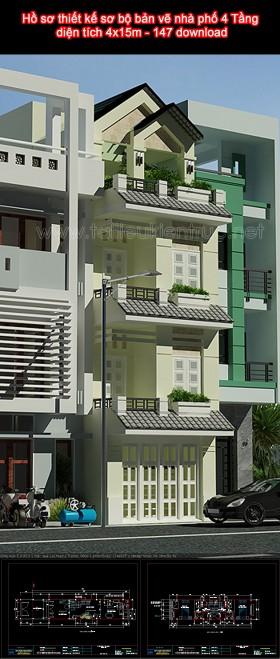 Hồ sơ thiết kế sơ bộ bản vẽ nhà phố 4 Tầng diện tích 4x15m - 147 download
