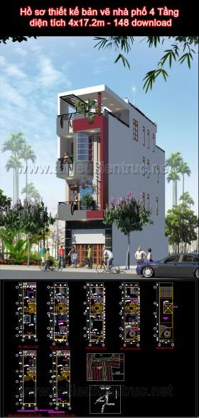 Hồ sơ thiết kế bản vẽ nhà phố 4 Tầng diện tích 4x17.2m - 148 download