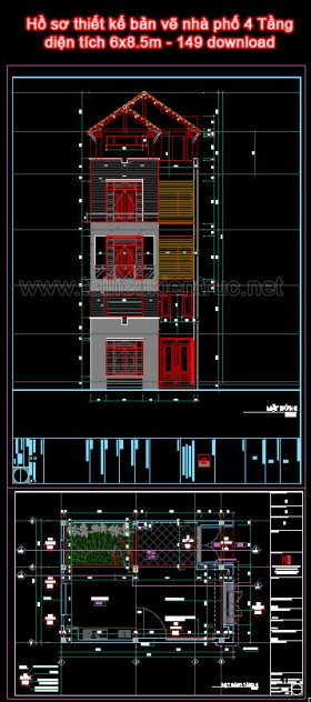 Hồ sơ thiết kế bản vẽ nhà phố 4 Tầng diện tích 6x8.5m - 149 download